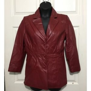 Worthington Womens Red Leather Blazer Size M
